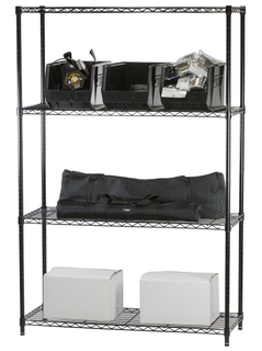 4 layers black painted wire shelving