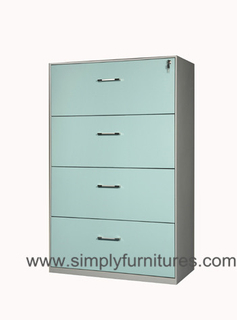 4 drawers steel lateral office cabinet green