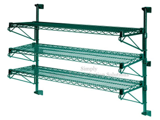3-Tier Green Epoxy Coated Wall Mounted Wire Rack Shelving,Wire Shelf Unit