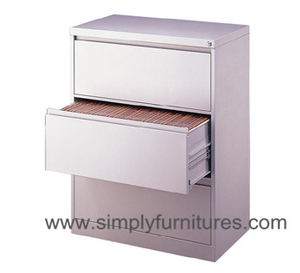3 drawers office steel lateral file cabinet white