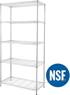 5-Shelf Light Duty Adjustable, Storage Shelving Unit, Steel Organizer Wire Rack, Chrome
