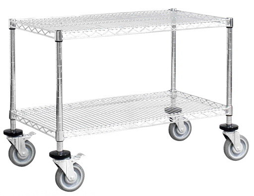 2 layers movable shelf with heavy caster