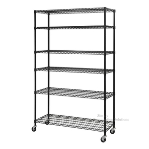 Black Mobile Shelf Organizer 6-Tier Height Adjustable Utility Steel Wire Unit in Supermarket