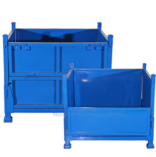 Collapsible Blue Metal Stackable Steel Pallet Box 1000kg Loading Capacity