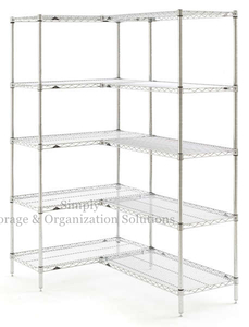 Stainless Steel Wire Shelves Restaurant Food Storage Chrome Finish Rack Unit