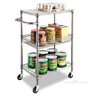 "3-Tier Wire Rolling Cart for Restaurant Food 24""W X 14""D X 36""H"