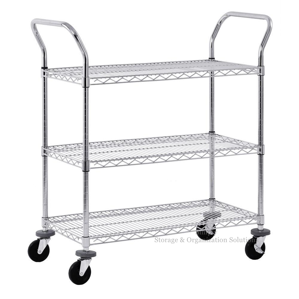 "Adjustable Food and Beverage Service Wire Shelf Cart With Pull Handle (36"" W X 14"" D X 38"" H)"