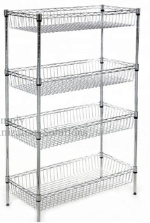4 Layers Metal Mesh Basket Shelves Adjustable Display Shelving