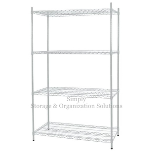 Stable Leveling Feet Wire Shelving Unit Matal Silver Rack Used in Shopping Mall