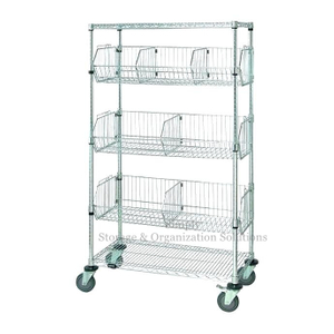 5-Layer Stationary Wire Basket Shelving Unit with 7 Baskets Chrome Finish Restaurant Shop