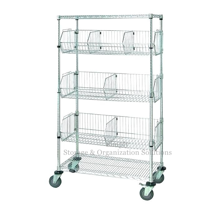 5-Layer Stationary Wire Basket Unit with 7 Baskets Chrome Finish Restaurant Shop