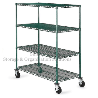 4 Tier Green Epoxy Commercial Wire Shelving in Plant Growing Environment