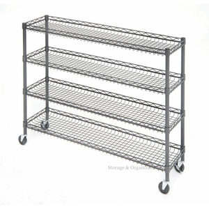 "4 Tier Metal Rolling Cart With Wheels With Baskets For Retail Storage 5"" X 18"" X 21"""